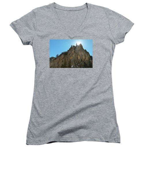 Women's V-Neck T-Shirt (Junior Cut) featuring the photograph Boulder Canyon Narrows Pinnacle by James BO Insogna