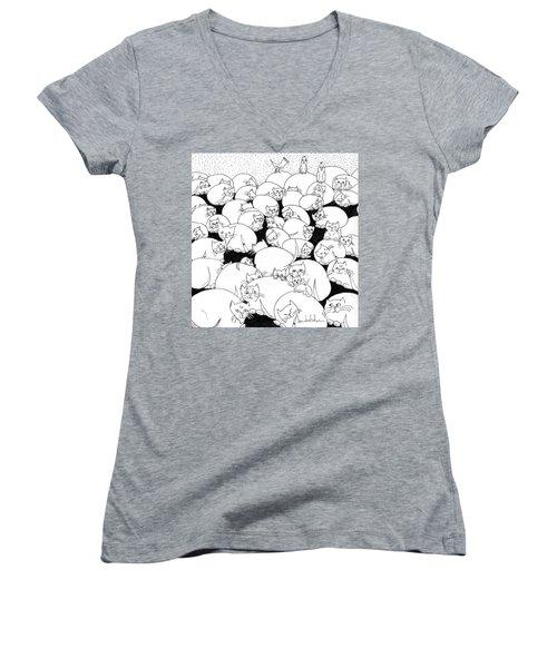 Boulder Cats Women's V-Neck T-Shirt (Junior Cut) by Lou Belcher