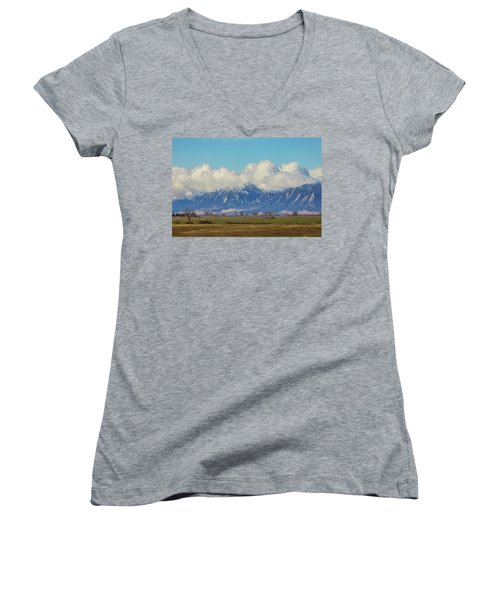 Women's V-Neck T-Shirt (Junior Cut) featuring the photograph Boulder Colorado Front Range Cloud Pile On by James BO Insogna