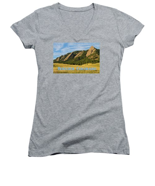 Women's V-Neck featuring the photograph Boulder Colorado Poster 1 by James BO Insogna