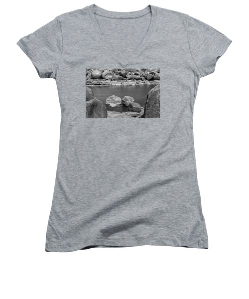Women's V-Neck T-Shirt (Junior Cut) featuring the photograph Boulders Of Tungabhadra, Hampi, 2017 by Hitendra SINKAR