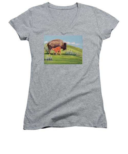 Bouncing Baby Bison Women's V-Neck (Athletic Fit)