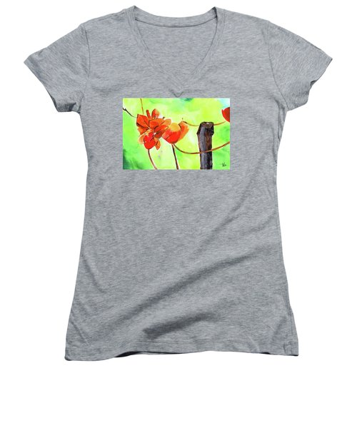 Women's V-Neck T-Shirt (Junior Cut) featuring the painting Bound Yet Free by Anil Nene
