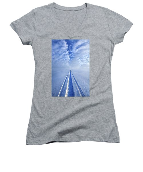 Women's V-Neck T-Shirt (Junior Cut) featuring the photograph Boundless Infinitude by Phil Koch