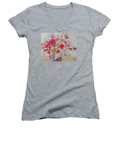 Women's V-Neck T-Shirt (Junior Cut) featuring the painting Bouquet Desjours by Joanne Smoley