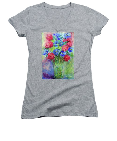 Women's V-Neck T-Shirt (Junior Cut) featuring the painting Bouquet by Jasna Dragun