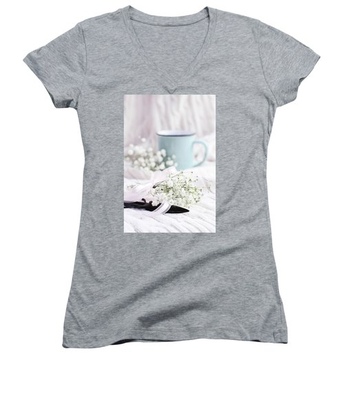 Women's V-Neck T-Shirt (Junior Cut) featuring the photograph Bouquet Of Baby's Breath by Stephanie Frey