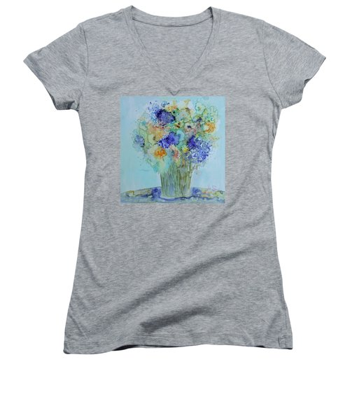 Women's V-Neck T-Shirt (Junior Cut) featuring the painting Bouquet Of Blue And Gold by Joanne Smoley