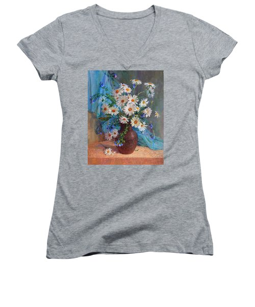 Bouquet Of Daisies In A Vase From Clay Women's V-Neck T-Shirt