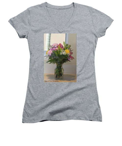 Bouquet Of Flowers Women's V-Neck T-Shirt (Junior Cut) by Nance Larson