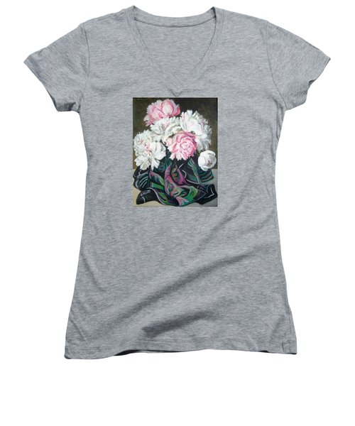 Women's V-Neck T-Shirt (Junior Cut) featuring the painting Bouquet Of Peonies by Laura Aceto