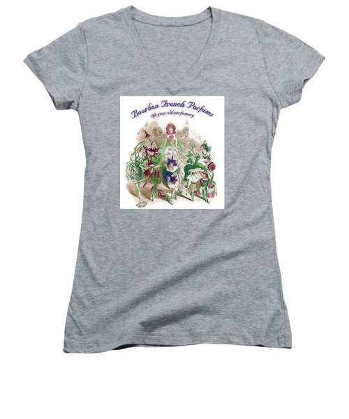 Women's V-Neck (Athletic Fit) featuring the digital art Bourbon French Perfume by ReInVintaged