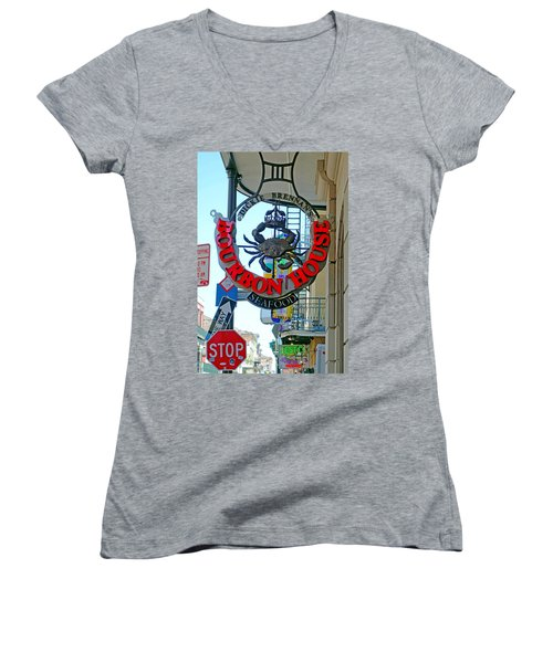 Bourbon House Signage Women's V-Neck T-Shirt