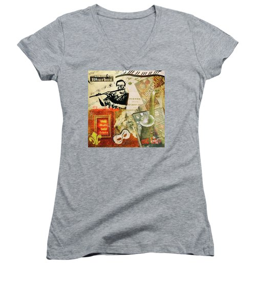 Bourbon Street Collage Women's V-Neck (Athletic Fit)