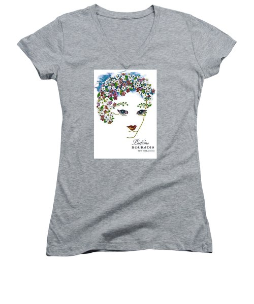 Women's V-Neck (Athletic Fit) featuring the digital art Bourjois by ReInVintaged