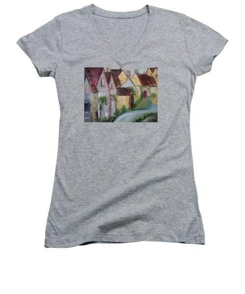 Bourton On The Water Women's V-Neck T-Shirt (Junior Cut) by Roxy Rich