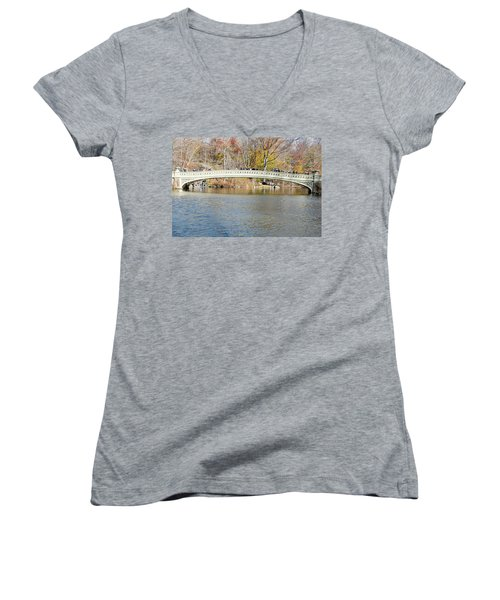 Women's V-Neck T-Shirt (Junior Cut) featuring the photograph Bow Bridge With Wedding by Steven Richman