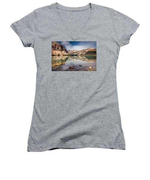 Women's V-Neck T-Shirt (Junior Cut) featuring the photograph Bow Lake Glorious Reflection by Pierre Leclerc Photography