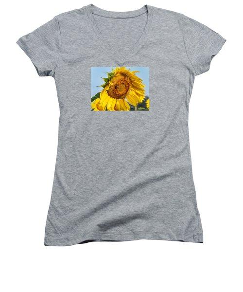 Bowed Sunflower Women's V-Neck (Athletic Fit)