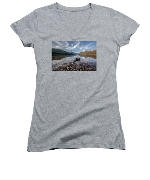 Bowman Lake Rocks Women's V-Neck T-Shirt (Junior Cut) by Aaron Aldrich