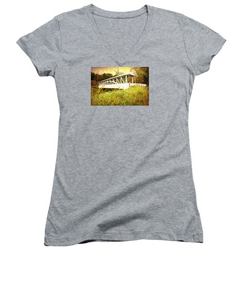 Women's V-Neck T-Shirt (Junior Cut) featuring the photograph Bowser Covered Bridge by Trina  Ansel