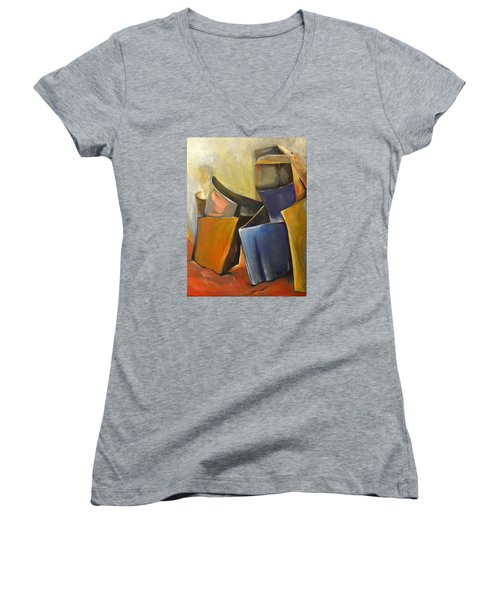Women's V-Neck T-Shirt (Junior Cut) featuring the painting Box Scape by Nadine Dennis