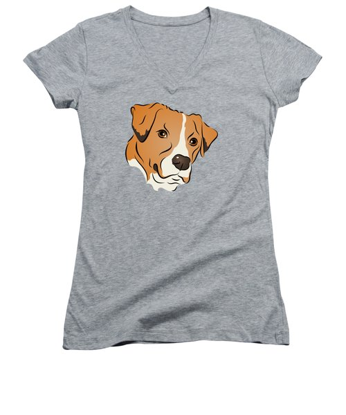 Boxer Mix Dog Graphic Portrait Women's V-Neck