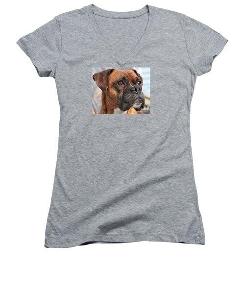 Boxer Portrait Women's V-Neck T-Shirt (Junior Cut) by Debbie Stahre