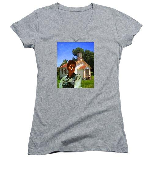 Boy And Church Women's V-Neck T-Shirt (Junior Cut) by Timothy Bulone