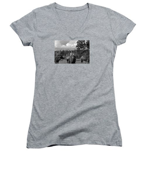 Boy And Cows Women's V-Neck (Athletic Fit)
