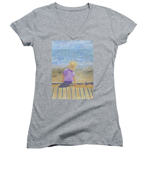 Boy Lost In Thought Women's V-Neck T-Shirt