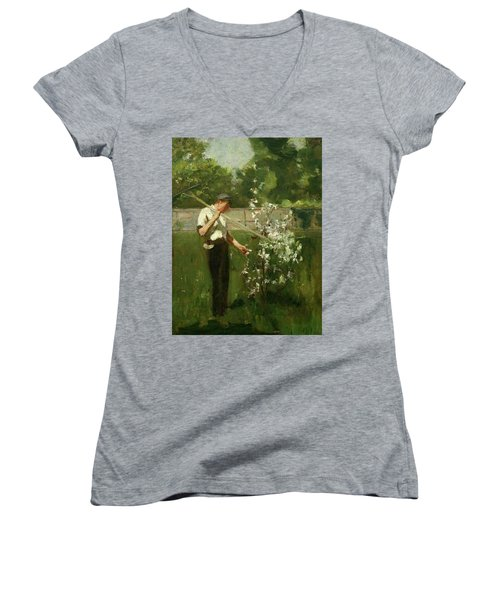 Women's V-Neck T-Shirt (Junior Cut) featuring the painting Boy With A Grass Rake by Henry Scott Tuke