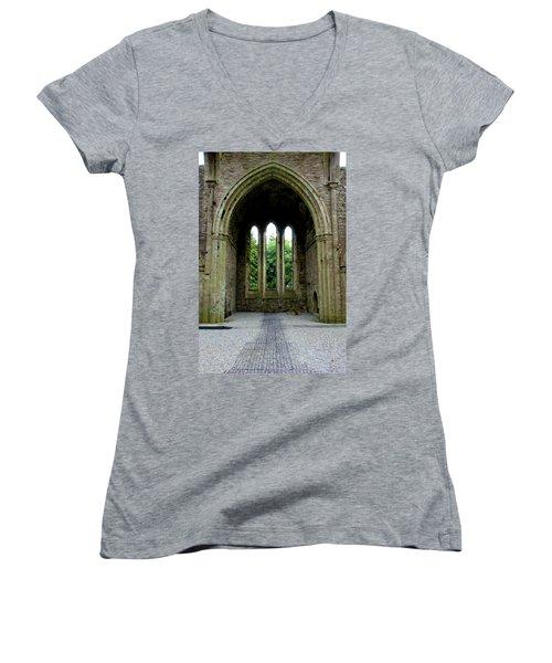 Boyle Abbey In Ireland 2 Women's V-Neck T-Shirt (Junior Cut) by Michelle Joseph-Long