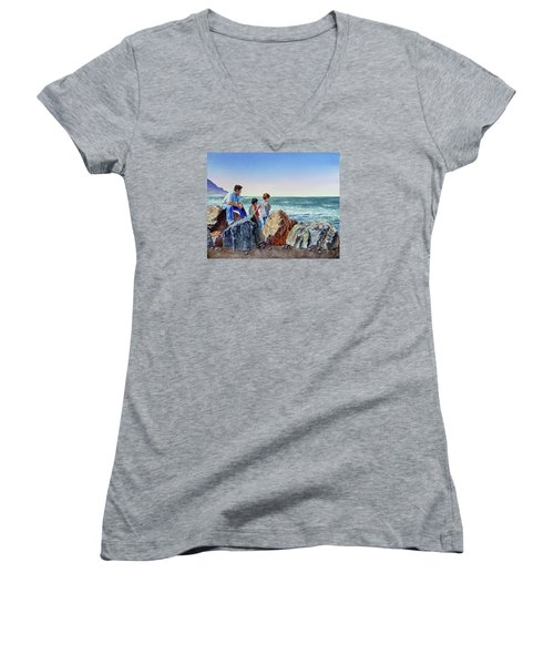 Women's V-Neck T-Shirt featuring the painting Boys And The Ocean by Irina Sztukowski