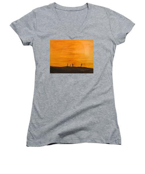 Women's V-Neck T-Shirt (Junior Cut) featuring the painting Boys At Sunset by Ian  MacDonald