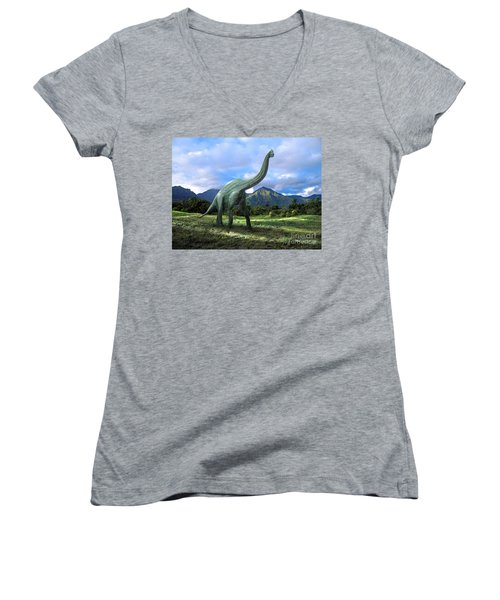 Brachiosaurus In Meadow Women's V-Neck T-Shirt