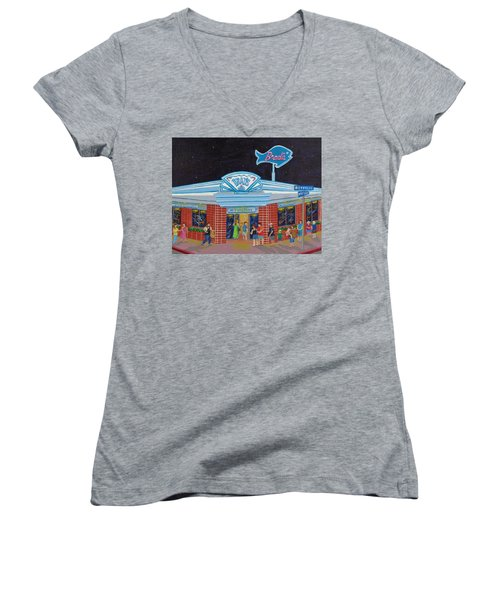 Women's V-Neck T-Shirt (Junior Cut) featuring the painting Brad's Pismo Beach California by Katherine Young-Beck