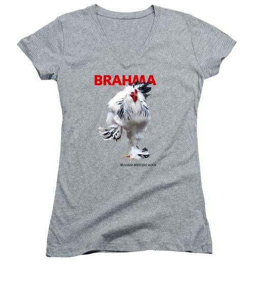 Brahma Breeders Rock Red Women's V-Neck (Athletic Fit)