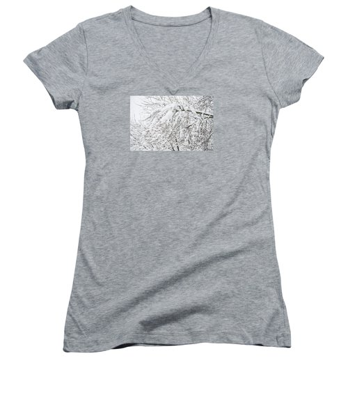Branches Weighted With Snow Women's V-Neck T-Shirt (Junior Cut) by Deborah Smolinske