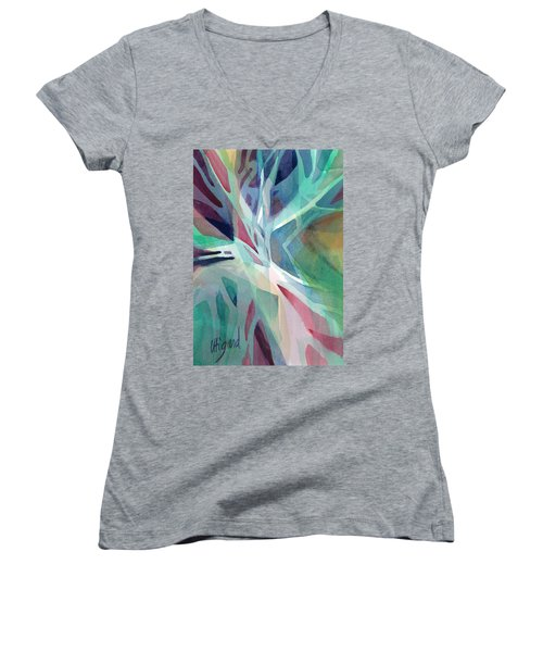 Women's V-Neck featuring the painting Branching Out by Carolyn Utigard Thomas