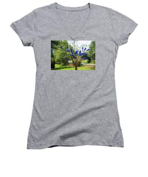 Brass Tree, Blue Bottle Leaves Women's V-Neck