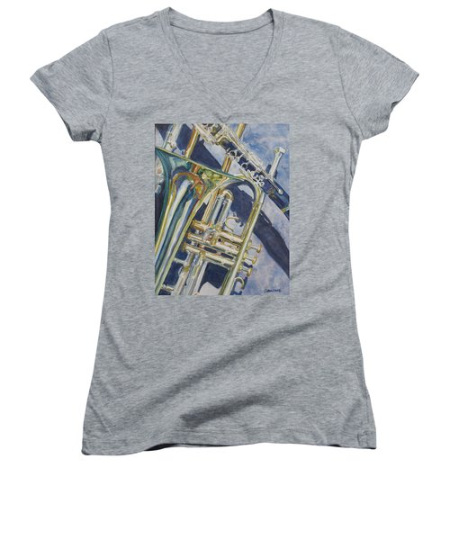 Brass Winds And Shadow Women's V-Neck (Athletic Fit)