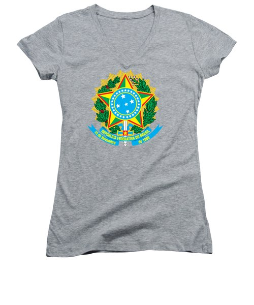 Women's V-Neck T-Shirt (Junior Cut) featuring the drawing Brazil Coat Of Arms by Movie Poster Prints