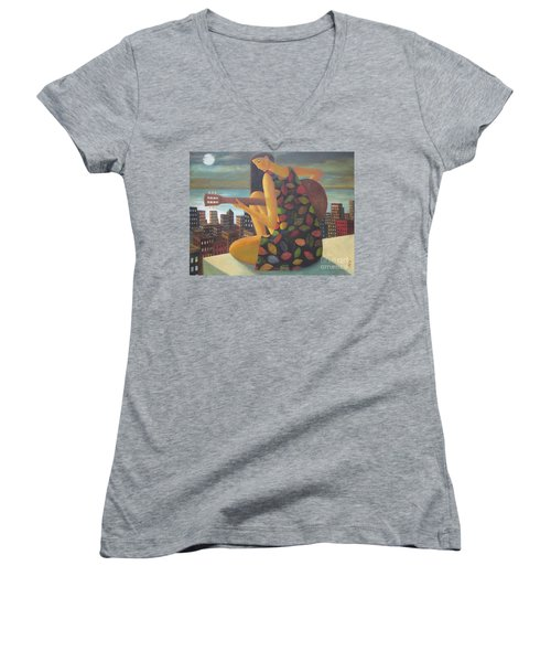 Women's V-Neck T-Shirt (Junior Cut) featuring the painting Brazil by Glenn Quist