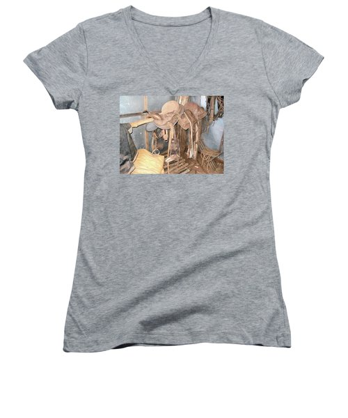 Women's V-Neck T-Shirt (Junior Cut) featuring the photograph Brazilian Cowboy Clothes by Beto Machado