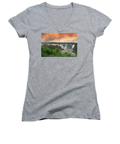 Women's V-Neck featuring the photograph Brazil,iguazu Falls,spectacular View by Juergen Held