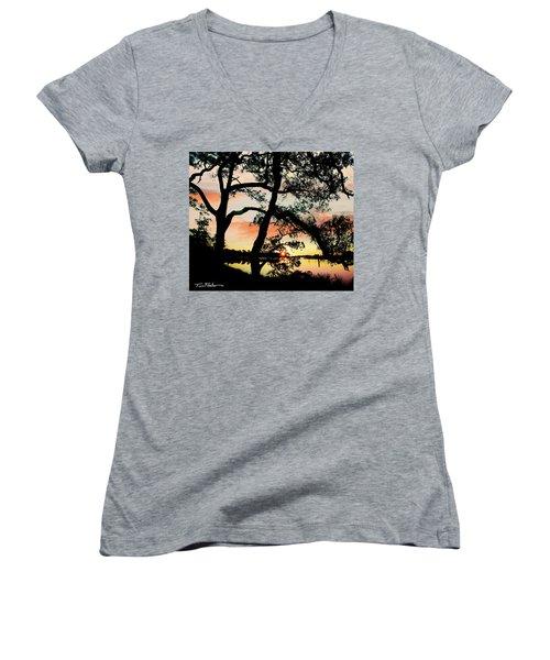 Break Of Dawn Women's V-Neck T-Shirt (Junior Cut) by Tim Fitzharris
