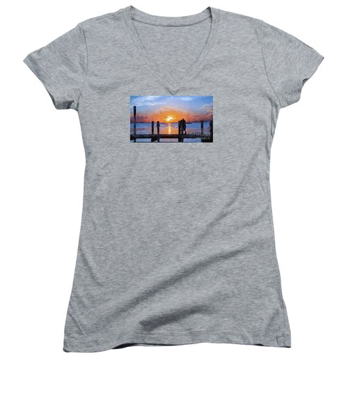 Women's V-Neck T-Shirt (Junior Cut) featuring the painting Break On Through  by Judy Kay