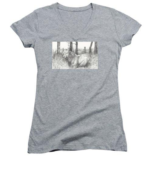 Women's V-Neck T-Shirt (Junior Cut) featuring the drawing Breaker Study by Meagan  Visser