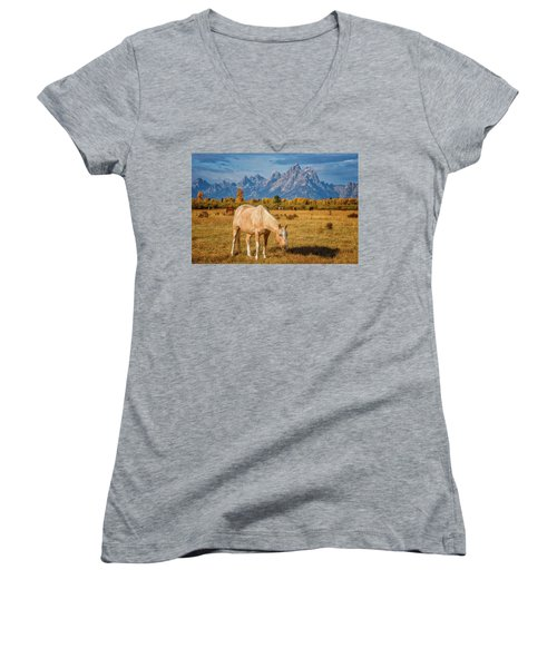 Breakfast In The Tetons Women's V-Neck (Athletic Fit)
